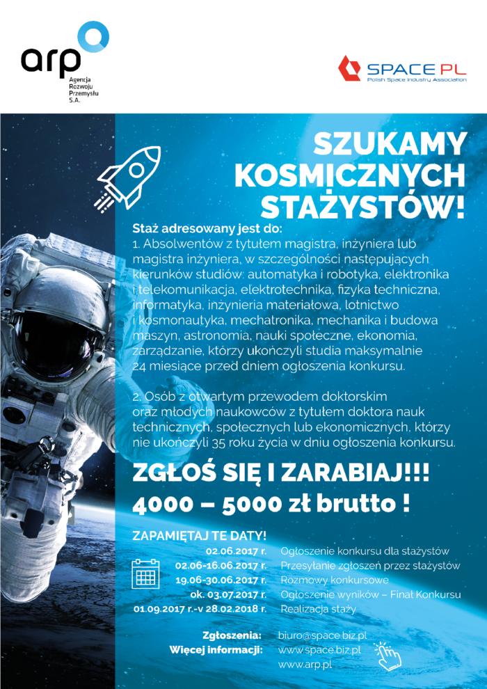 II edycja konkursu o staż – Rozwój Kadr Sektora Kosmicznego