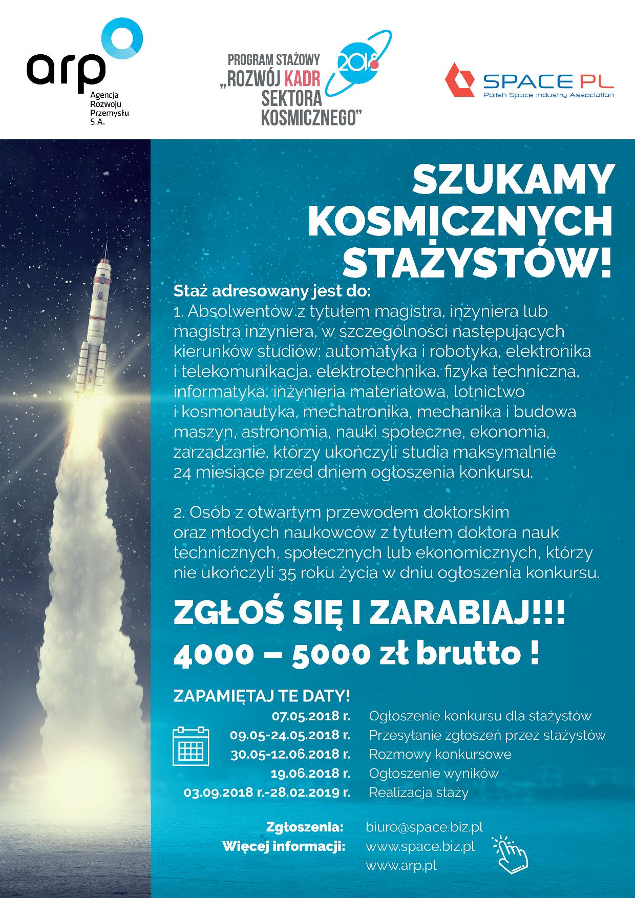 III edycja konkursu o Staż – Rozwój Kadr sektora kosmicznego